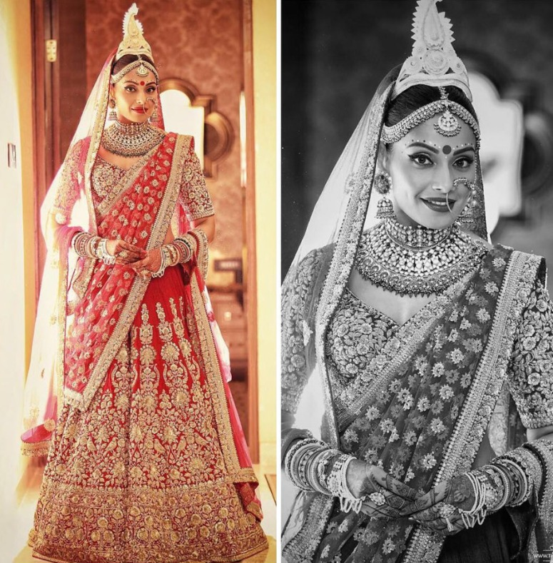 red-gold-Sabyasachi-Mukherjee-Bridal-lehenga-saree