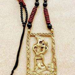 Handmade-Mother-Child-Large-Dokra-Pendant-set-on-Maroon-black-Wooden-Beads-ArtEastri-1_grande